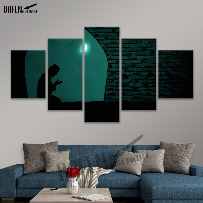 US $9.1 49% OFF|Wall Art 5 Panel Man Praying Canvas Painting Print  Paintings Picture Artposter For Bedroom Home Decor Printed Ready To Hang-in  ...