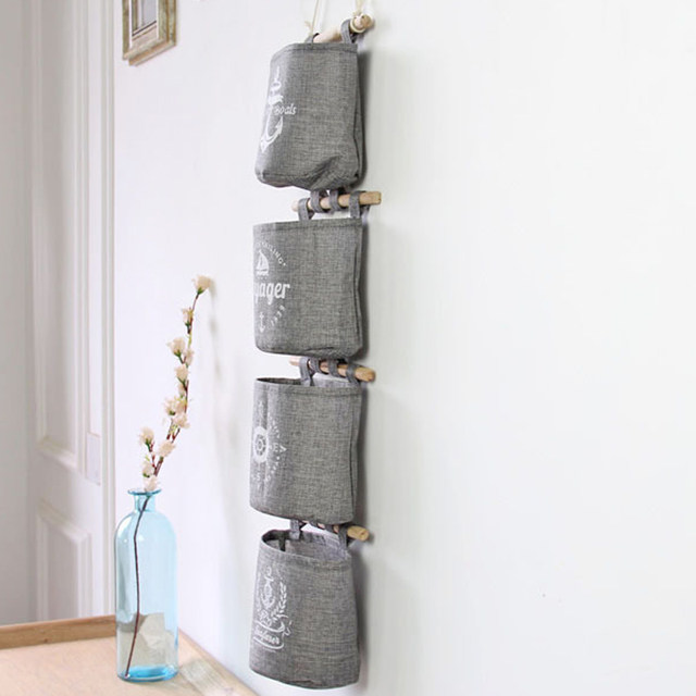 FUNIQUE 4Pcs/Set Wall Hanging Storage Baskets Clothing Organizer Linen  Closet Hook Storage Bag For Kitchen Bathroom Living Room