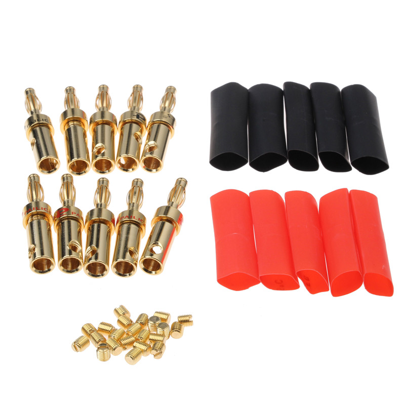 20PCS Wire Pin Plug Banana Connectors 3.8-4.6mm Copper Gold Plated Audio Speaker Cable Wire Connector 20pcs 4mm gold plated banana audio speaker plugs set wire connectors musical cable adapters for electronics e with box