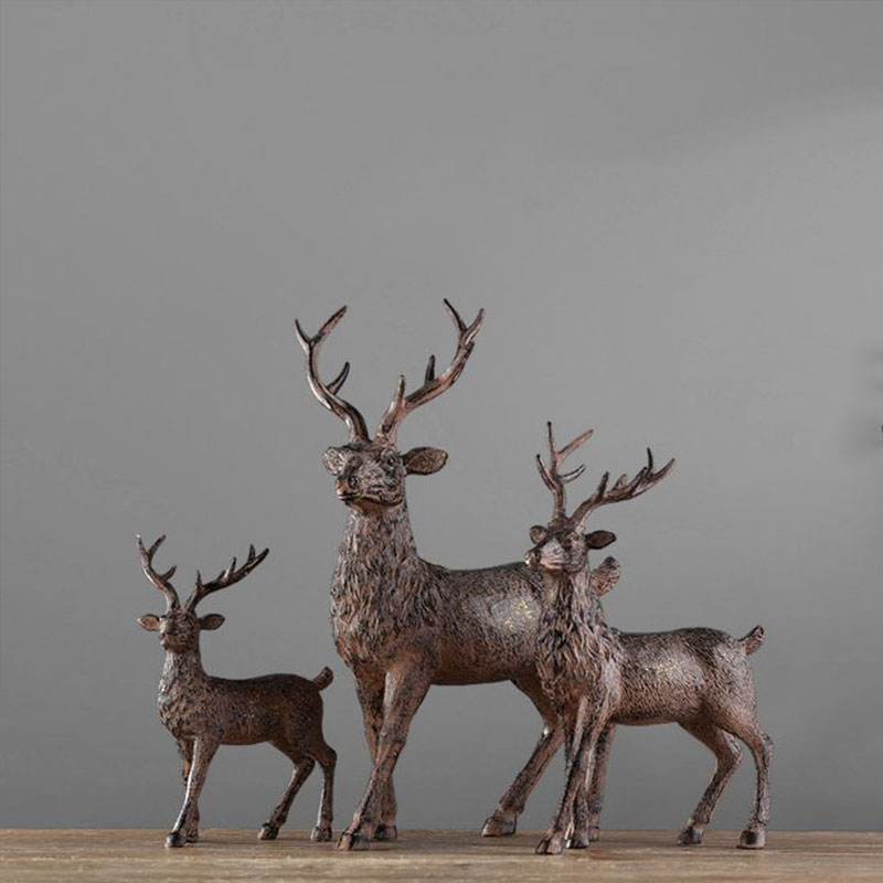 Nordic fashion retro creative resin ornaments a family of three deer sets elk