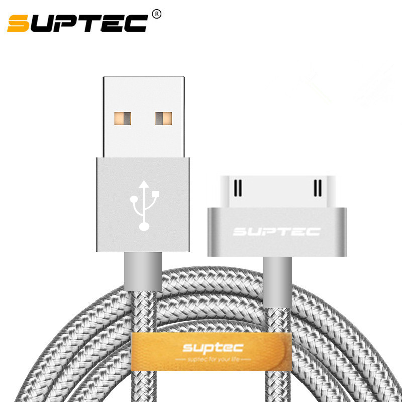 Suptec 30 Pin USB Cable for iPhone 4s 4 Metal Plug Nylon Braided Wire Charger Cable 2A Fast Charging Data Sync Cord for iPad <font><b>2</b></font> image