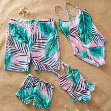 Family Swimsuit Summer Bohemian Leaf Print Swimsuit Mom Daughter Dad Son Beach Shorts Matching Swimsuit Family Look Women Bikini mesh insert open back leaf print swimsuit