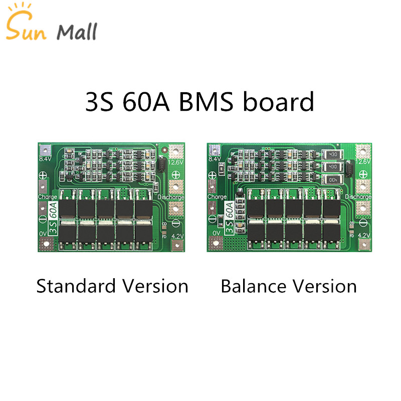 3S 60A BMS board/ Li-ion 12.6V 18650 BMS PCM battery protection board for li-ion battery free shipping 3s 50a protection circuit bms pcm pcb battery protection board for 11 1v li ion lithium battery cell pack