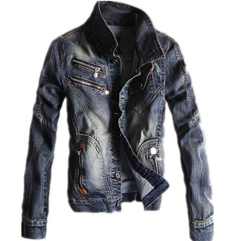 Kmeram 2019 Весенняя и Осенняя мужская джинсовая куртка большого размера Корейская тонкая Ретро джинсовая куртка мужская Куртка Jaqueta Masculino HH272 - 3
