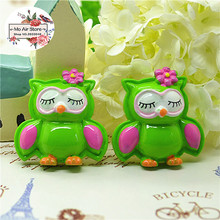 Diy-Accessories Decoration Craft Cabochon Flat Back Resin Charm Green-Owl 10pcs 28mm