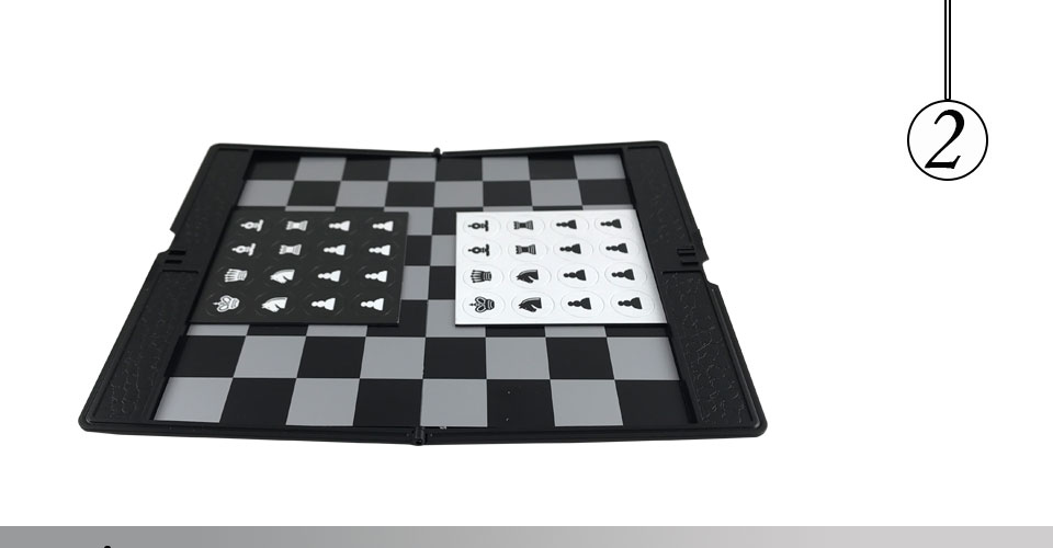 Easytoday Mini Chess Games Set Plastic Chess Board Portable Magnetic Folding Chess Pieces Pocket Entertainment Games (2)