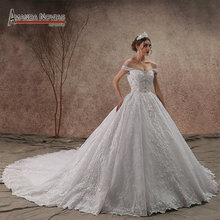 New Collection Off Shoulder Beaded Lace Wedding Dress 2019 NS3433