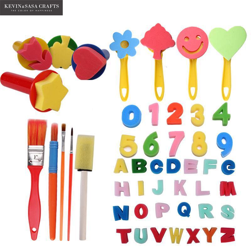 49In1 Sponge Brush Set For Kids Painting Watercolor Brush Art Supplies Great Brush Set Wooden Body With Sponge Hair School Tools sponge brush with handle