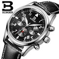Suíça BINGER relógios homens marca de luxo de Quartzo pulseira de couro à prova d' água Cronógrafo Cronômetro relógios de Pulso B9202-8