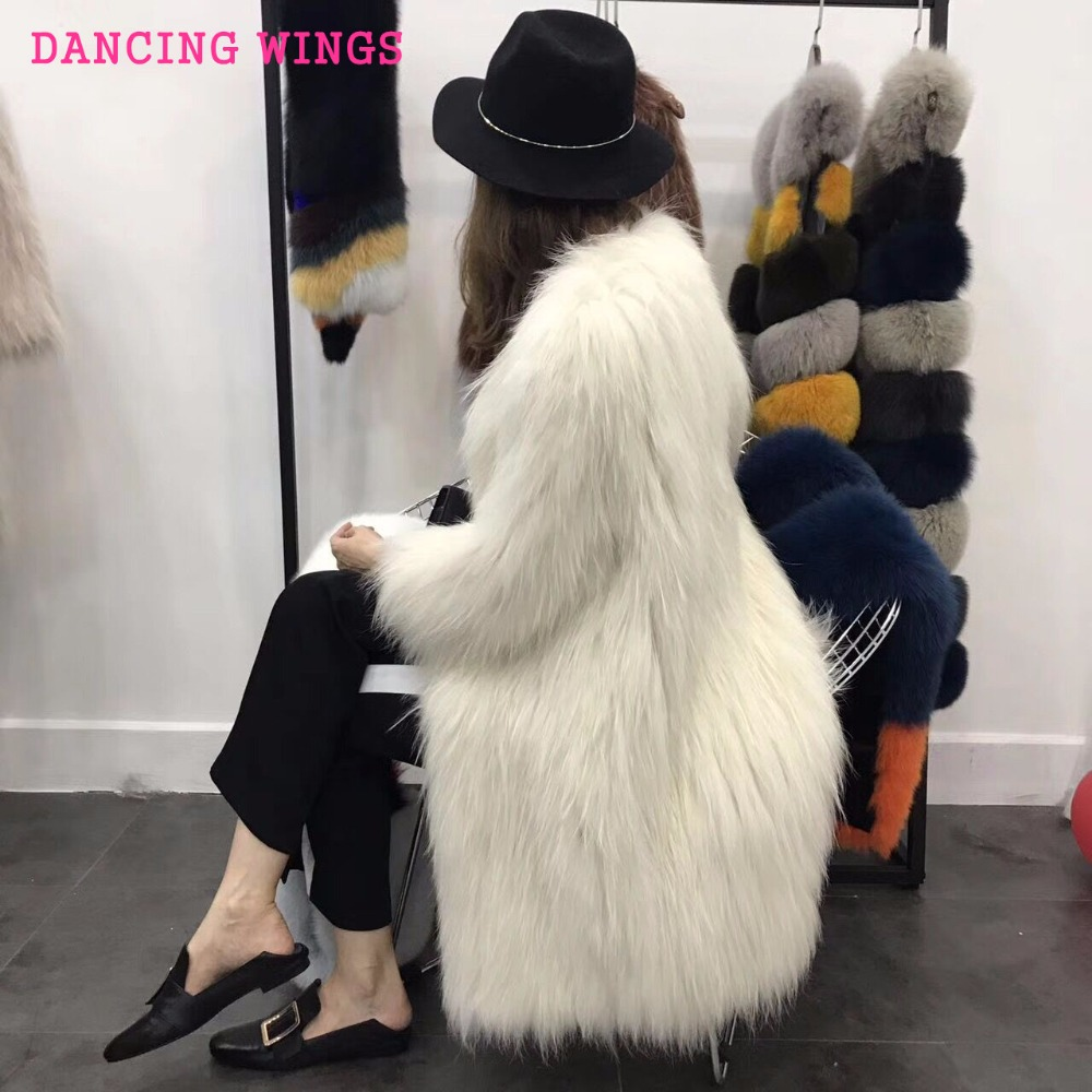 Length 90cm Real Raccoon Dog Fur Coat Knitted Fur Coat Casual Round Collar Women Natural Fur Jacket