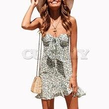 Cuerly leaf print summer dress women 2019 front bow ruffle mini dress sboho beach strapless dress  L5 недорого