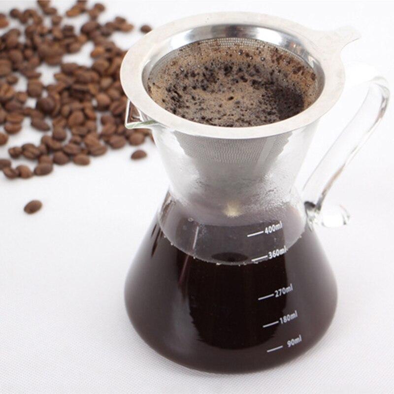 Многоразовый фильтр для кофе 304 нержавеющая сталь конус фильтр для кофе корзины сетчатый фильтр залить кофе капельница с подставкой держат...
