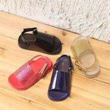 2018 Mini Melissa Girls boys Sandals Children s shoes mini melissa cartoon Glitter sequins Princess Shoes