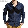 2017 de lujo inglaterra patchwork rayas de manga larga camisa de los hombres slim fit hombre camisas de mezclilla ocasional camisa hombre brand clothing xxxl