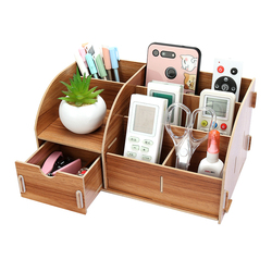 Suportes de papelaria de mesa de madeira diy com gaveta organizador de escritório suportes de papel papelaria organizador caixa de armazenamento de madeira canto alegria