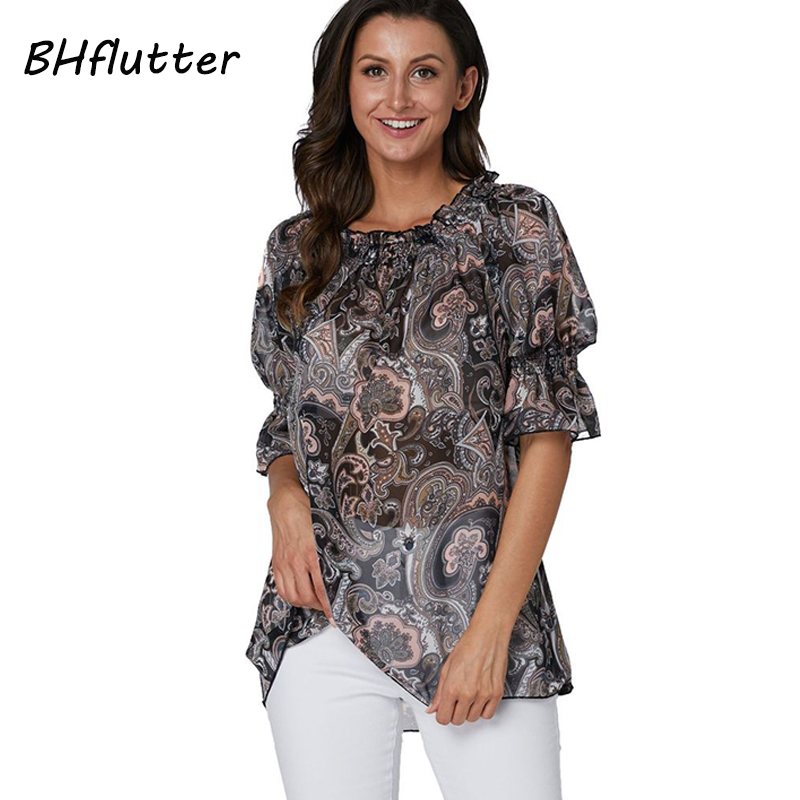 BHflutter Plus Size 2019   Blouse     Shirt   Women Fashion Short Sleeve Casual Summer Tops Tees Snake Print Chiffon   Blouses   blusa mujer