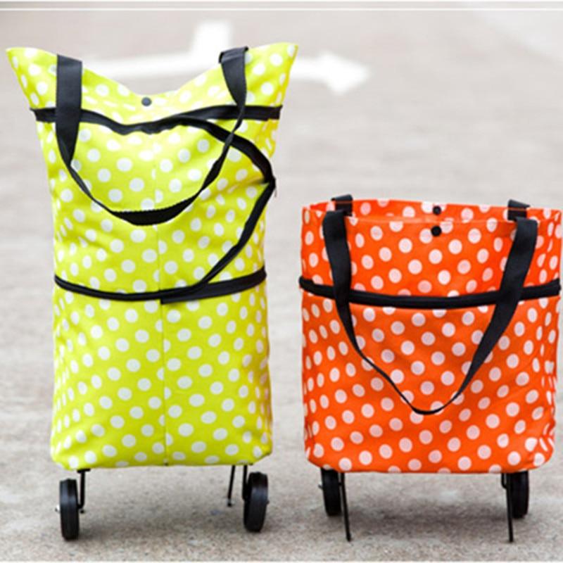 Dot Printed Oxford Reusable Shopping Bag Folding Trolley  Mute Wheel 5 Colors option
