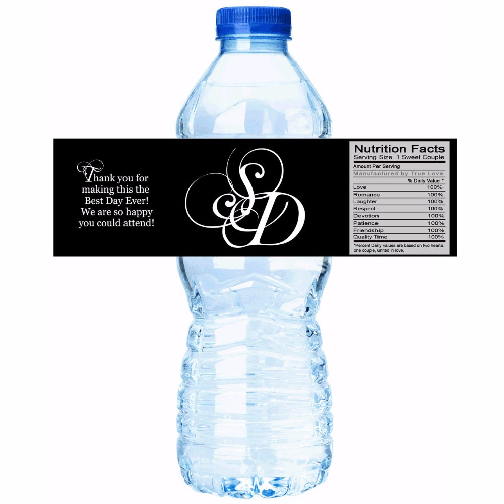 Water Bottle Name Tags: Customized Name Big Letter Personalized Water Bottle