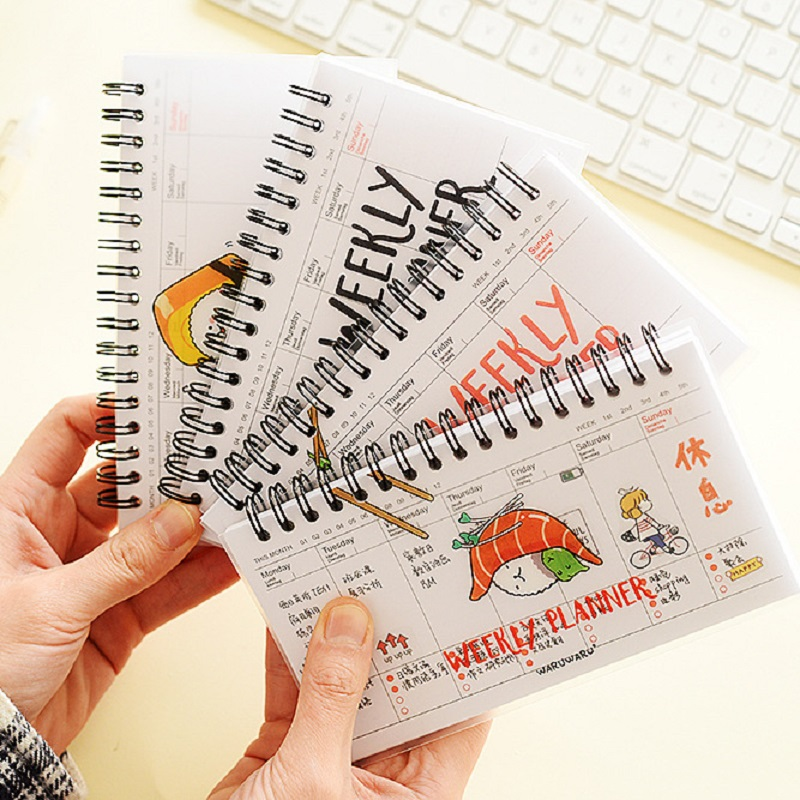 Cute Kawaii Cartoon Weekly Planner Coil Notebook Agenda Filofax For Kids Gift Lovely Stationery Diary Sketchbook Agenda 2018 cute colorful floral design portable daily 2018 planner lovely doll girl scheduler 256p 11 8 15 4 2 3cm agenda gift