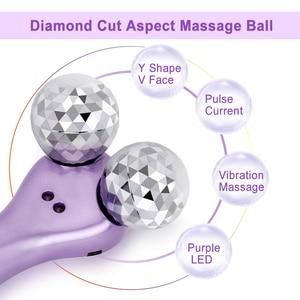 Image 3 - Micro Dòng Điện Rung Máy Massage 4D Con Lăn Máy Mát Xa Da Mặt Y Hình Xoay V Mặt Nâng Mặt Massage Da Se Khít Máy