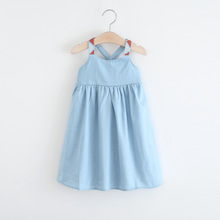Kids Summer Jean Dresses Cute Girls Back Cross Suspender Dresses England Style Children Backless Dress Free Shipping