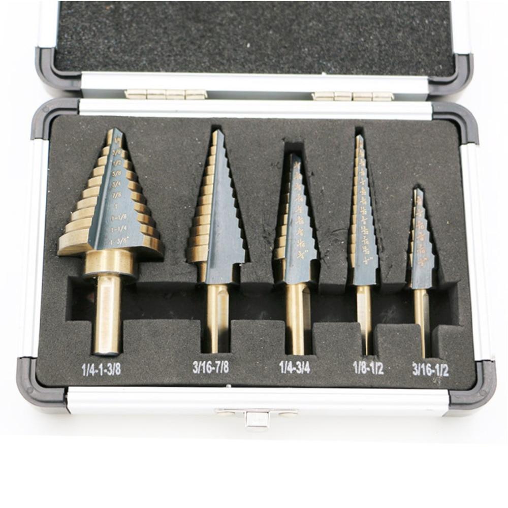5pcs Step Drill Bit Set Hss Cobalt Multiple Hole 50 Sizes Step Drills 1/4-1-3/8 3/16-7/8 1/4-3/4 1/8-1/2 3/16-1/2 Drill Bits телеприставка mk888 5pcs b bluetooth rk3188t 4 4 2 2 8 tv stick page 1 page 3