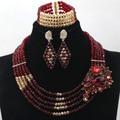 Encantos cor de vinho e ouro Chunky contas de cristal mulheres colar partido do traje africano Set jóias frete grátis WD259