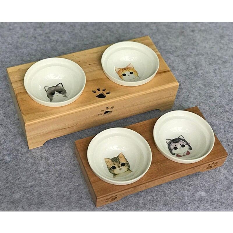 Bol pour animaux de compagnie vaisselle en bambou en céramique Double bouche chats chiens mangeoires bol nourriture bols à boire haute qualité antidérapant fournitures pour animaux de compagnie