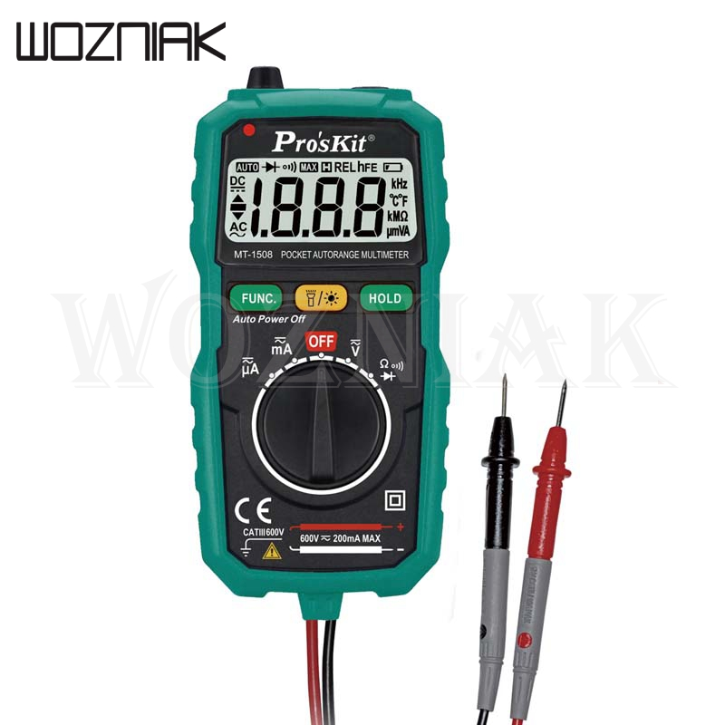 <font><b>Proskit</b></font> MT-1210 3 1/2 Compact Digital Multimeters Manual Range Cap Ohm Transistor Diode Tester Data Hold Battery Test image