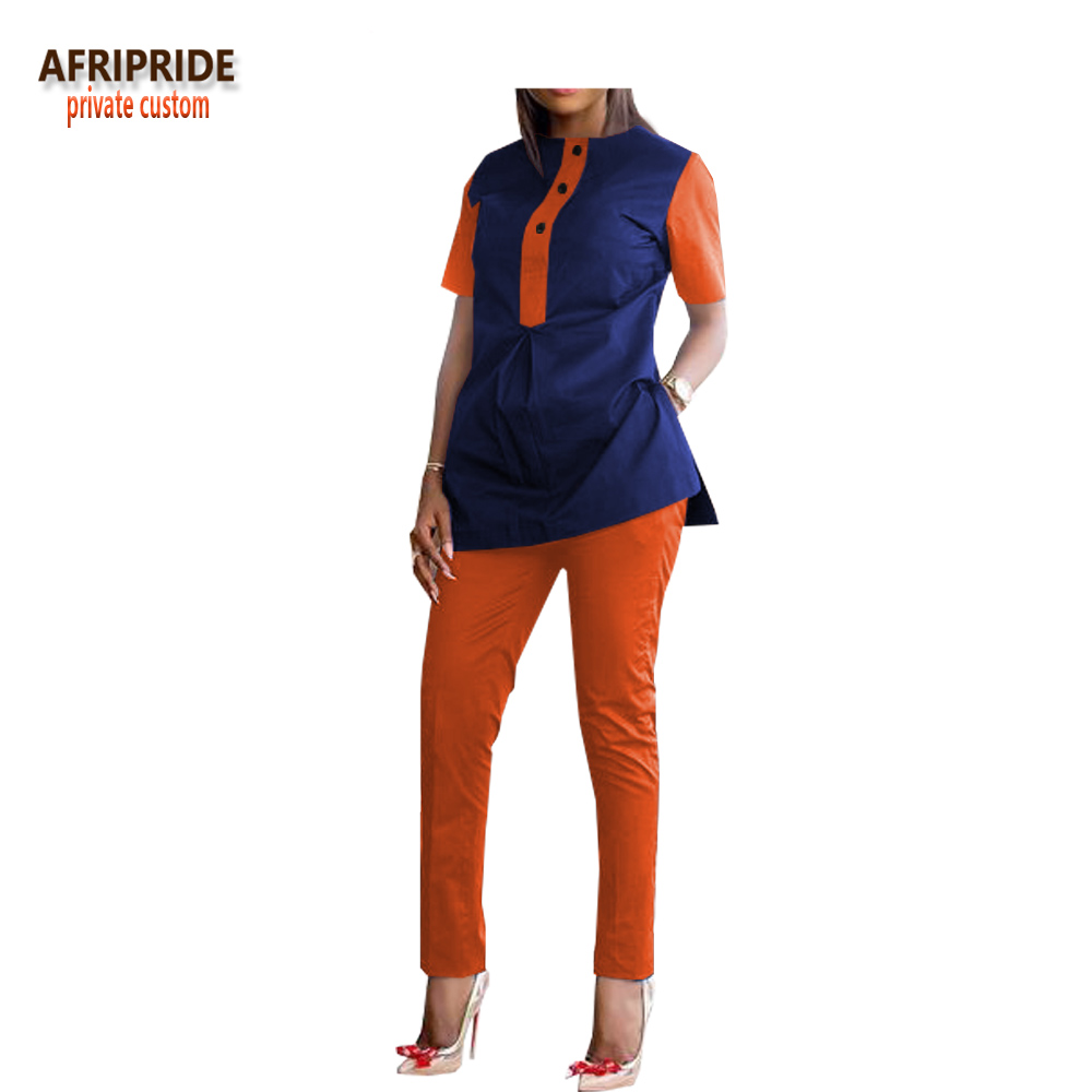 2018 slim pants set for women AFRIPRIDE customzied half sleeve side split top+ankle length pants casual women set A1826008