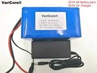 VariCore 24 v 18650 6Ah 7S3P Bateria de Iões de Lítio 29.4 v 6000 mah com Carregador de 29.4 v 2A Para Elétrica bicicleta