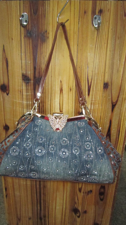 Denim Jeans Women Shoulder HandBags Bags Vintage Fashion Frame Shine Rhinestone Evening Bag Totes Female Messenger Purse 59258
