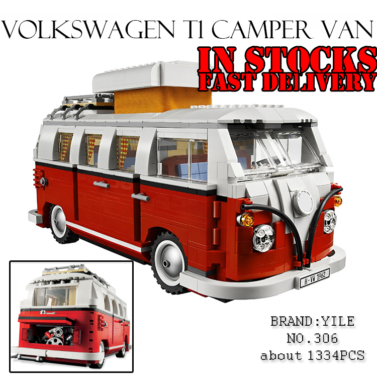 Yile Technic Creator Volkswagen T1 Camper Van car-styling Model Building Blocks Bricks Toys for children gifts Compatible 10220 lepin 21001 creator volkswagen t1 camper van building block compatible legoe 1352pcs educational toys for children