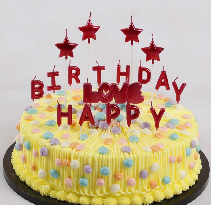 New Creative Scented Birthday Weddings Candles Red Love Flameless Candles Cake For Children Gifts Happy Birthday Decoration
