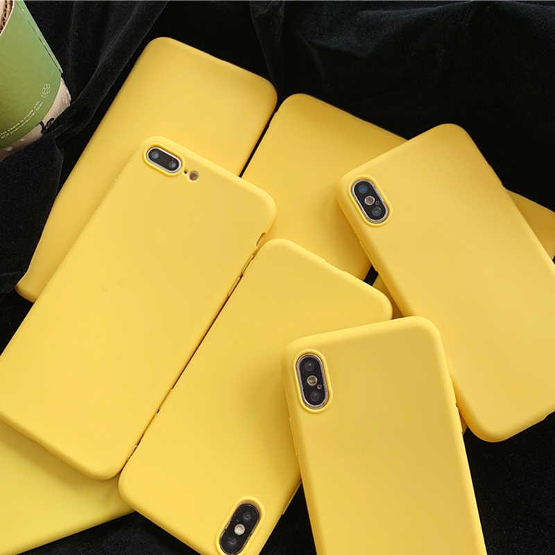 Permen Kuning Matte Bening TPU Case untuk LG K4 2017 K7 K8 Euro 2018 K10 Alpha K11 Plus 2018 G5 g6 G7 G8 Lucu Tpu Karet