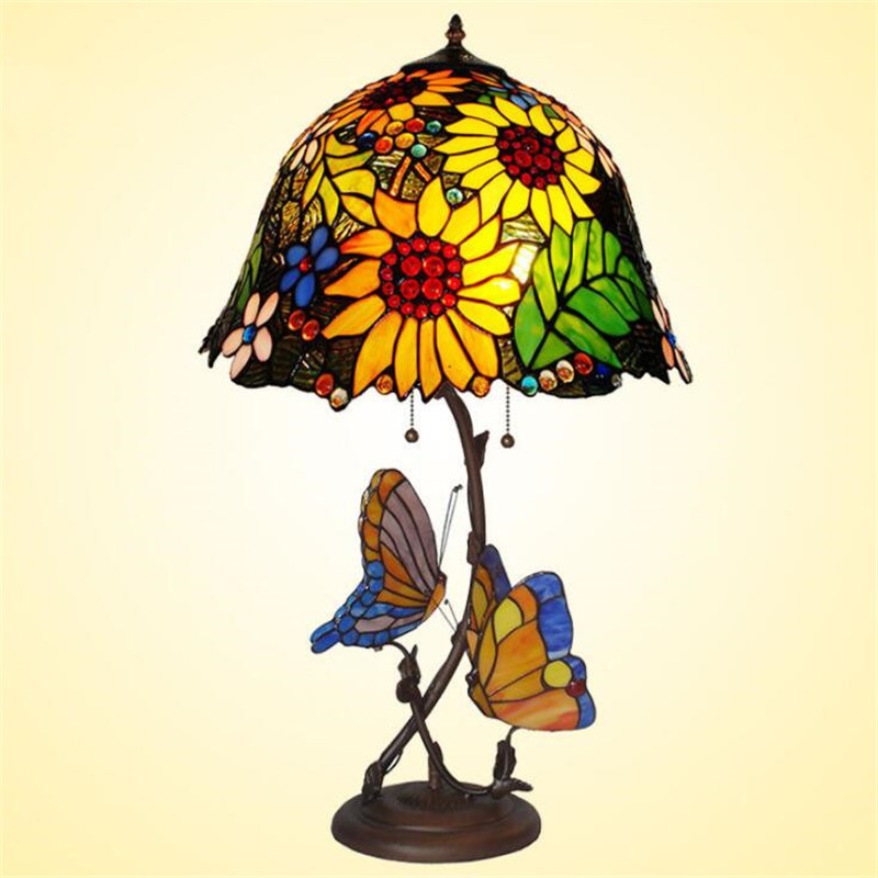 Tiffany Colorful Glass Butterfly Sunflowers Table Lamp for Foyer Bed Room Apartment Glass Lighting Fixture Dia 69cm 1114|LED Table Lamps| |  - title=