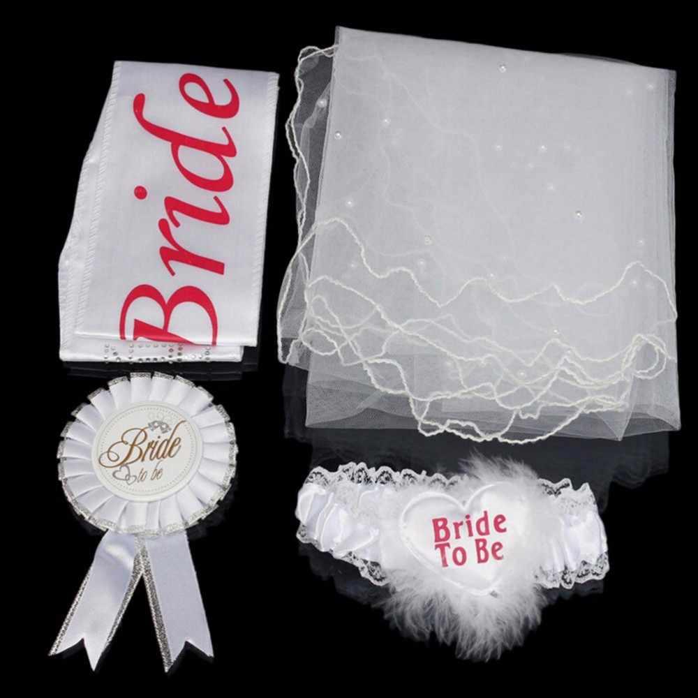 4 ชิ้น/เซ็ตเจ้าสาวสีขาว Rosette Mantilla Badge Sash Garter Veil Hen Night Party อุปกรณ์เจ้าสาวงานแต่งงานตกแต่ง