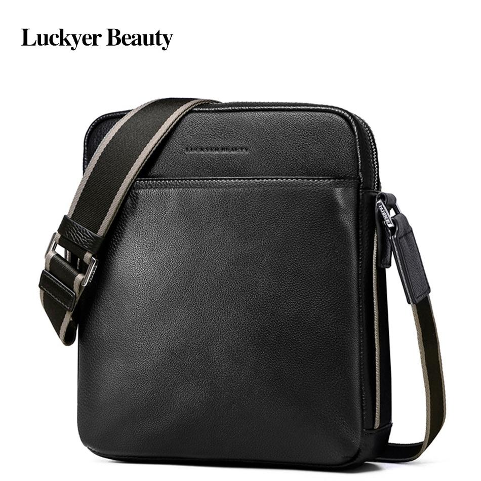 81c163b48028 Luckyer Beauty брендовая мужская сумка из натуральной кожи деловая  Повседневная сумка через плечо на молнии рабочая
