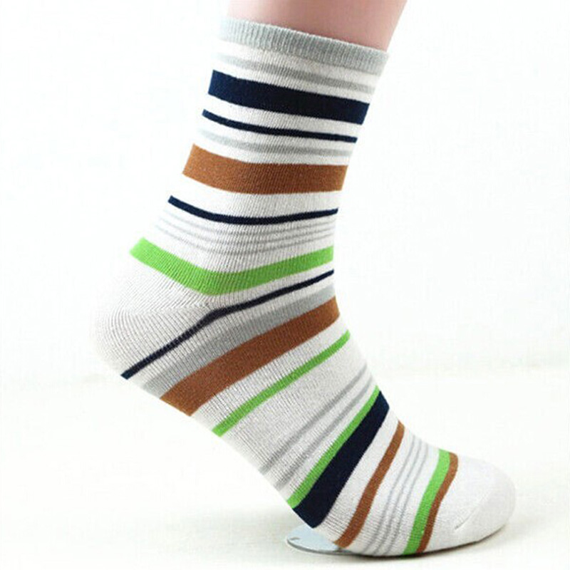 2017 Men Fashion Cotton Stripe Casual Soft Color Stripe  Ankle Short Warm Crew Socks