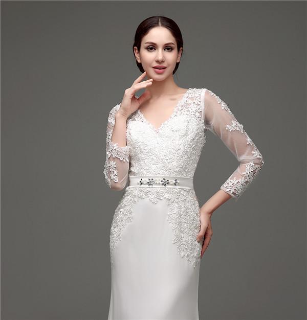 Floor-Length V-Neck Lace Chiffon Full Sleeves Wedding Dress 3
