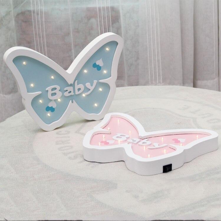 Creative European wooden cartoon butterfly light LED ...