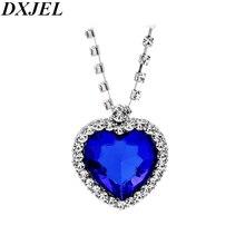 DXJEL 10 шт. сердце океан кулон ожерелье s для женщин синие прозрачные Стразы Серебряное колье ожерелье ювелирные украшения в подарок любимой дропшиппинг