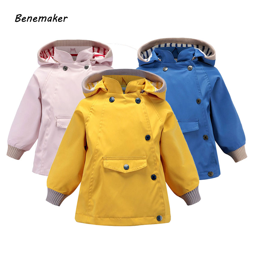Benemaker High Quality Spring Jackets For Girls Boys Children Clothing Outdoor Coats Overalls Hooded Baby Kids Outerwear JH107