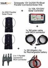 Solarparts 12V 2x25W DIY RV/Boat Kits Solar System 25W flexible solar panel1x 10A solar controller 1 set 3M MC4 cable 1 set clip