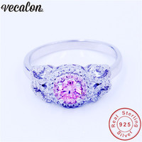 Vecalon Flower Jewelry Genuine 100 Soild 925 Sterling Silver Ring 1ct 5A Pink Zircon Engagement Wedding