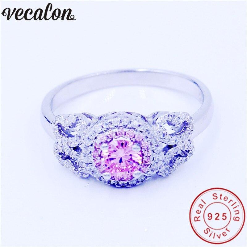 все цены на Vecalon Flower Jewelry Genuine 100% Soild 925 Sterling Silver ring 1ct 5A Pink Zircon Engagement wedding Band ring for women men