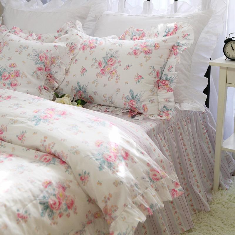 Quality Fabric Bedding Set Luxury Pastoral Garden Print Bedding Ruffle Bed Set Princess King Bedding Set Cotton Duvet Cover Set