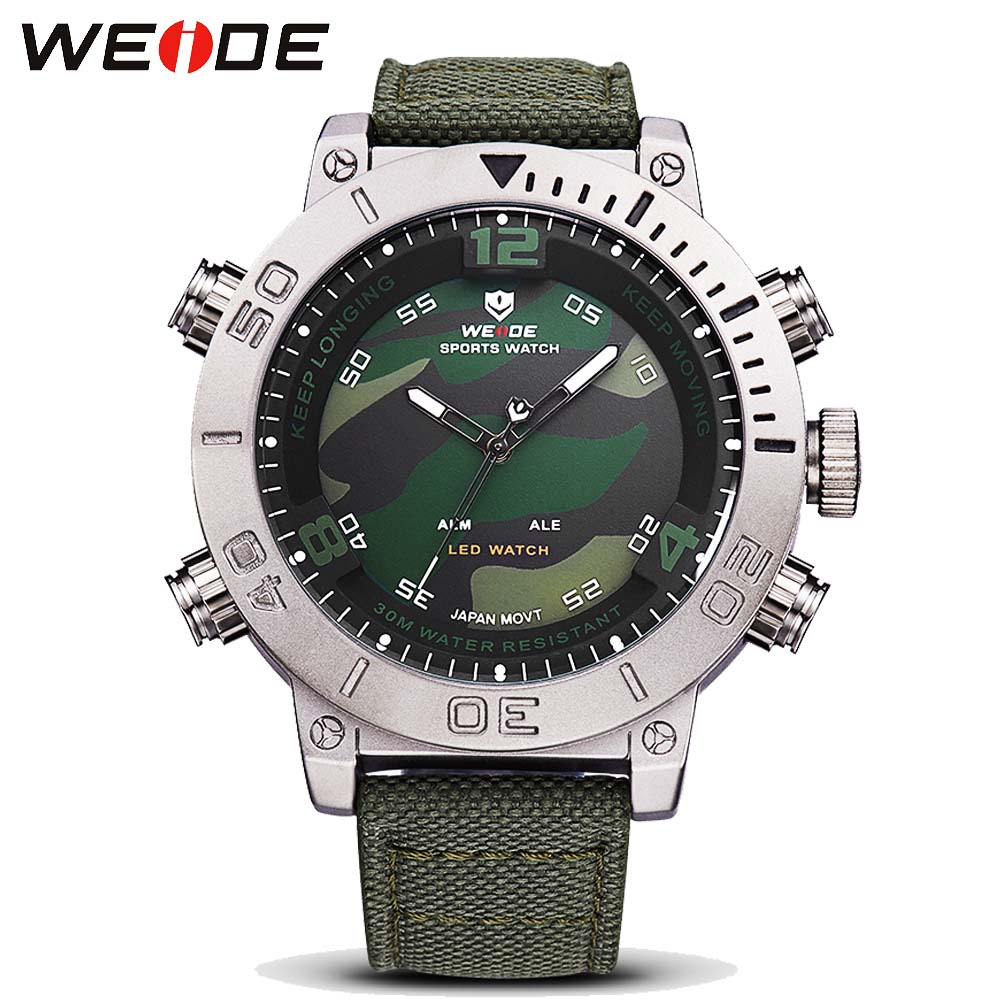 2017 WEIDE Brand Men's Casual Sport Watches Men LED Digital Watch Canvas Military Quartz Watch Clock Man Relogio Masculino watch men led digital waterproof wristwatch casual man sport watches 2017 new weide famous brand saat erkekler horloges mannen
