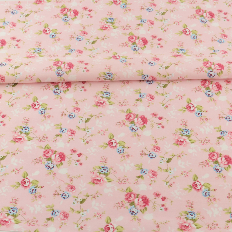 100% Tela de Algodón de Costura De Color Rosa Impresa Flor Diseños Tecido Scrapb