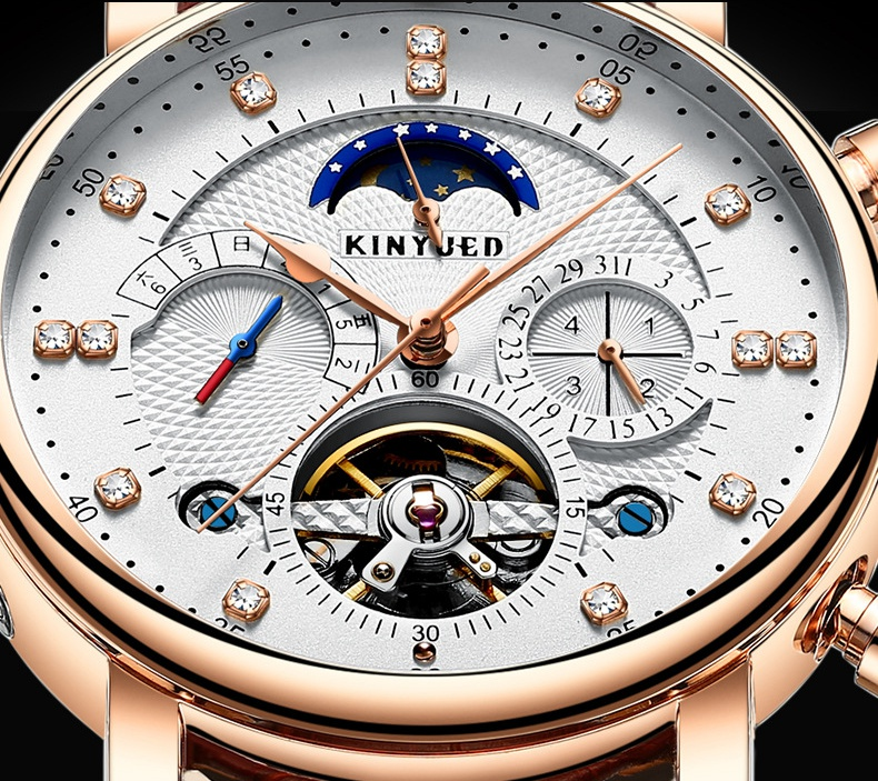 KINYUED Skeleton Tourbillon Mechanical Watch Men Automatic Classic Rose Gold Leather Mechanical Wrist Watches Reloj Hombre J025 new kinyued skeleton tourbillon mechanical watch automatic men classic rose gold leather mechanical wrist watches reloj hombre